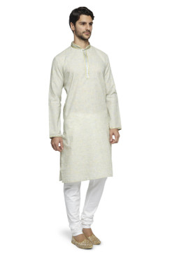 Ethnix Men's Mandarin Collar Solid Natural Space Dye with Hand Embroidered Placket Long Kurta Tunic