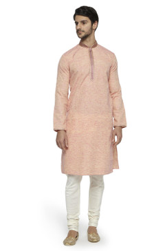 Ethnix Men's Mandarin Collar Solid Coral Space Dye with Hand Embroidered Placket Long Kurta Tunic