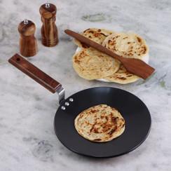 Wonderchef Hard Anodized Pure Grade Aluminum PFOA-Free Indian Cooking Roti Naan Paratha Tawa; 25 cm Pan, Black