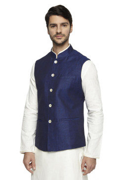 Ethnix Men's Handmade Banded CollarPure Cotton Linen Nehru Jacket Vest; Navy Blue