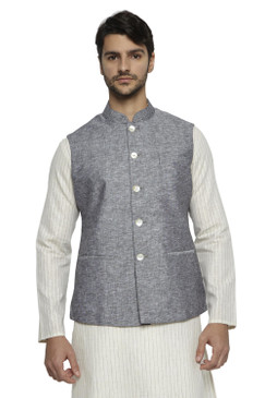 Ethnix Men's Handmade Banded CollarPure Cotton Linen Nehru Jacket Vest; Steel Gray