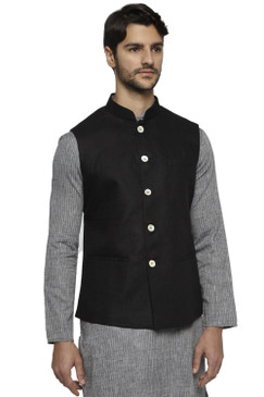 Ethnix Men's Handmade Banded CollarPure Cotton Linen Nehru Jacket Vest; Black