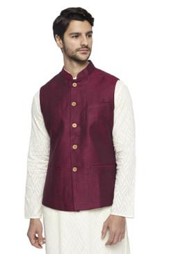 Ethnix Men's Handmade Banded CollarPure Cotton Linen Nehru Jacket Vest; Maroon