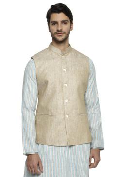 Ethnix Men's Handmade Banded CollarPure Cotton Linen Nehru Jacket Vest; Light Beige