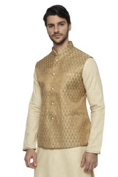 Ethnix Men's Handmade Banded Collar Motif Print Nehru Jacket Vest