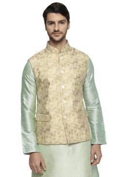 Ethnix Men's Handmade Banded Collar Artist's Abstract Print Nehru Jacket Vest