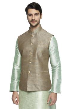 Ethnix Men's Handmade Banded Collar Fine Horizontal Stripe Nehru Jacket Vest