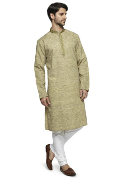 Ethnix Men's Mandarin Collar Textured Olive Green Long Kurta Tunic with Hand Embroidered Placket