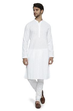 Ethnix Men's Mandarin Collar Handmade All - Over White Chikaankari Embroidered Kurta Pajama 2-piece set