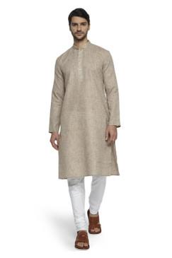 Ethnix Men's Mandarin Collar Solid Textured Staple Kurta Pajama 2-piece set; Natural Earth
