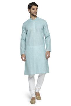 Ethnix Men's Mandarin Collar Solid Textured Staple Kurta Pajama 2-piece set; Sky Blue