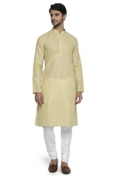 Ethnix Men's Mandarin Collar Solid Textured Staple Kurta Pajama 2-piece set; Light Yellow