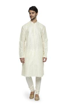 Ethnix Men's Mandarin Collar Festive Collection with Fine Detailing Off-White Kurta Pajama 2-piece set