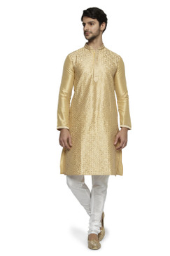 Ethnix Men's Mandarin Collar Festive Gold Collection Kurta Pajama 2-piece set