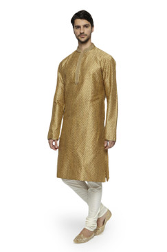 Ethnix Men's Mandarin Collar Festive Gold Collection Finely Made Kurta Pajama 2-piece set