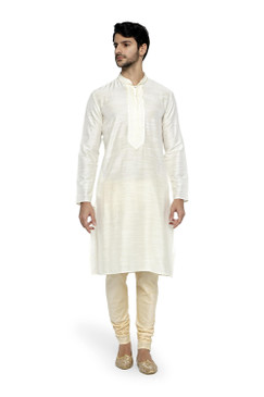 Ethnix Men's Mandarin Collar Plain Of–White Kurta Pajama 2-piece set