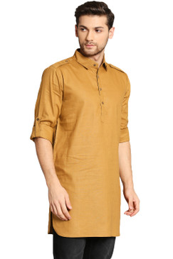 In-Sattva Men's Pullover Pathani Rollup Sleeve Kurta Tunic with Shoulder Strap Mustard