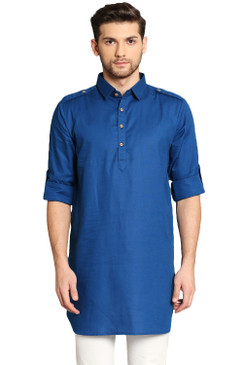 In-Sattva Men's Pullover Pathani Rollup Sleeve Kurta Tunic with Shoulder Strap Ink Blue