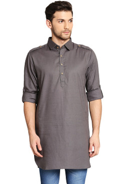 In-Sattva Men's Pullover Pathani Rollup Sleeve Kurta Tunic with Shoulder Strap Grey