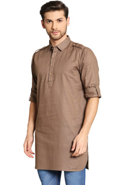 In-Sattva Men's Pullover Pathani Rollup Sleeve Kurta Tunic with Shoulder Strap Camel Brown