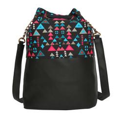 Women's Crossbody Tribal Aztec Print Black Bucket Bag