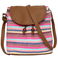 Women's Crossbody Multicolor Striped with Vegan Leather Bag