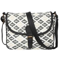 Women's Crossbody Black and White Diamond Textured Bag