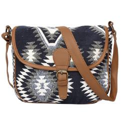 Women's Crossbody Black Aztec Textured Bag
