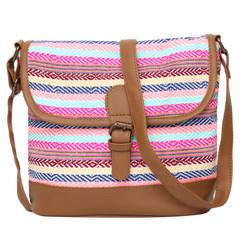 Women's Crossbody Multicolored Striped Textured Bag
