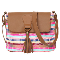 Women's Crossbody Multicolored Striped Print w/Tassel