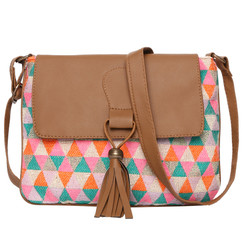 Women's Crossbody Multicolored Diamond Print w/Tassel