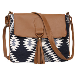 Women's Crossbody Black Aztec Print w/Tassel