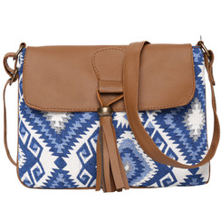 Women's Crossbody Blue and White Aztec Print w/ Tassel