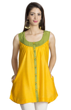 MOHR Women's Yellow Sleeveless Tunic Shirt with Pintuck Yoke Ì´Ì_ÌÎ̝ÌÎÌ¥ Front
