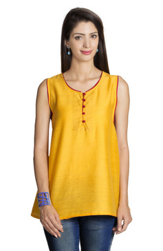 MOHR Women's Dark Yellow Sleeveless Tunic Shirt Ì´Ì_ÌÎ̝ÌÎÌ¥ Front