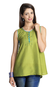 MOHR Women's Dark Green Sleeveless Tunic Shirt Ì´Ì_ÌÎ̝ÌÎÌ¥ Front