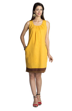 MOHR Women's Dark Yellow Sleeveless Dress with Pleated Neckline åäÌÝÌÕ Front