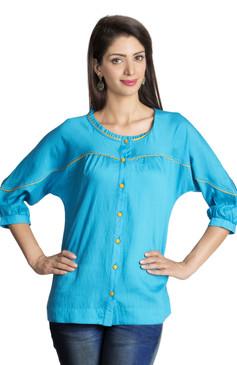 MOHR Women's Blue Tunic Shirt with Three-Quarter Sleeves Ì´Ì_ÌÎ̝ÌÎÌ¥ Front