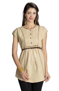 MOHR Women's Beige Tunic with Cap Sleeves and Contrast Piping Ì´Ì_ÌÎ̝ÌÎÌ¥ Front