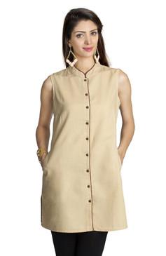 MOHR Women's Beige Tunic Shirt with Mandarin Collar Ì´Ì_ÌÎ̝ÌÎÌ¥ Front