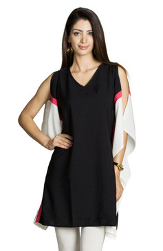 MOHR Women's Tunic Shirt with Sleeveless Color Blocking Ì´Ì_ÌÎ̝ÌÎÌ¥ Front