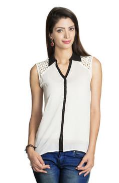 MOHR Women's Shirt with Lace Embellishment Ì´Ì_ÌÎ̝ÌÎÌ¥ Front