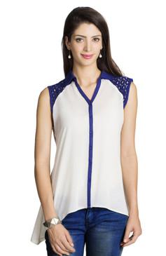 MOHR Women's Shirt with Blue Lace Embellishment Ì´Ì_ÌÎ̝ÌÎÌ¥ Front