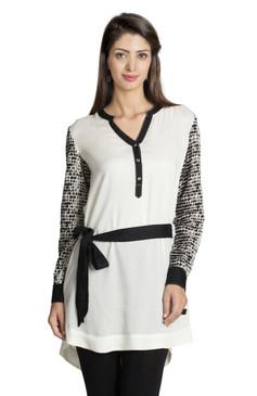 MOHR Women's Tunic Shirt with Printed Sleeves Ì´Ì_ÌÎ̝ÌÎÌ¥ Front