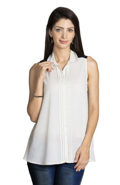 MOHR Women's Sleeveless Shirt with Pleated Button Placket Ì´Ì_ÌÎ̝ÌÎÌ¥ Front
