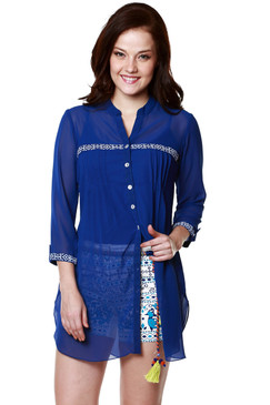 Global Desi Womens Boho Sheer Button Down Tunic  - Front