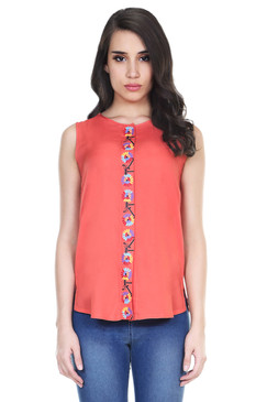 Global Desi Womens Boho Printed Placket Sleeveless Top - Front