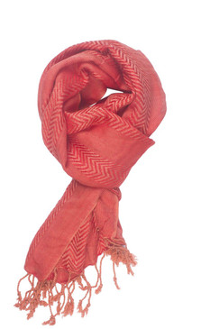 In-Sattva Colors - Zigzag Patterned Stripe Scarf Stole ‰ÛÒ Coral