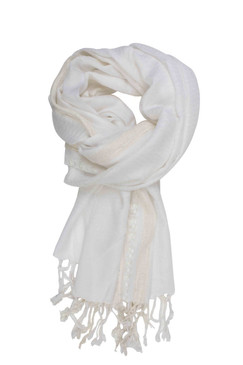 In-Sattva Colors - Decorative Border Scarf Stole Wrap ‰ÛÒ White