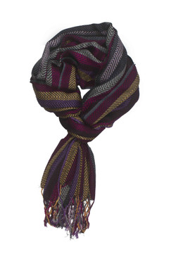 In-Sattva Colors - Vertical Stripes Scarf Stole Wrap ‰ÛÒ Dark Purple